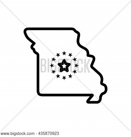 Black Line Icon For Missouri State Area Border Cartography Contour Country Map Region