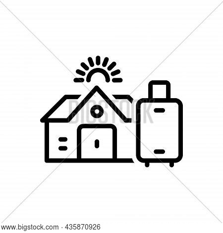 Black Line Icon For Pg Hostel Dorm Dormitory Paying Guest Building Residential Luggage