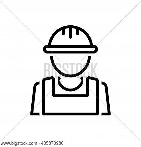 Black Line Icon For Builder Manufacturer Producer Architect Maker Contractor Engineer Helmet