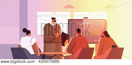 Businessman Presenting Financial Graph For Businesspeople At Conference Meeting Business Presentatio