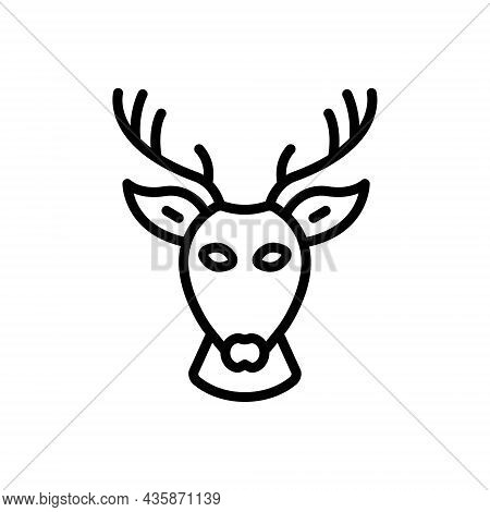 Black Line Icon For Deer Head Antelope Animal Antler Horn Elk Reindeer Forest