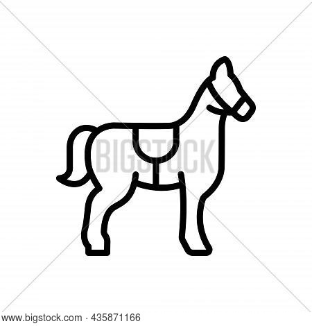 Black Line Icon For Mustang Steed Horse Equestrian Races Ride