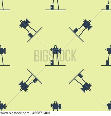 Blue Antenna Icon Isolated Seamless Pattern On Yellow Background. Radio Antenna Wireless. Technology