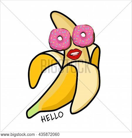 Glamorous Banana Character On A White Background. Cheerful Happy Banana With Donuts. Illustration Fo