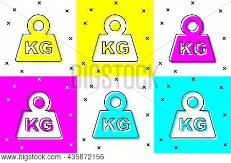 Set Weight Icon Isolated On Color Background. Kilogram Weight Block For Weight Lifting And Scale. Ma