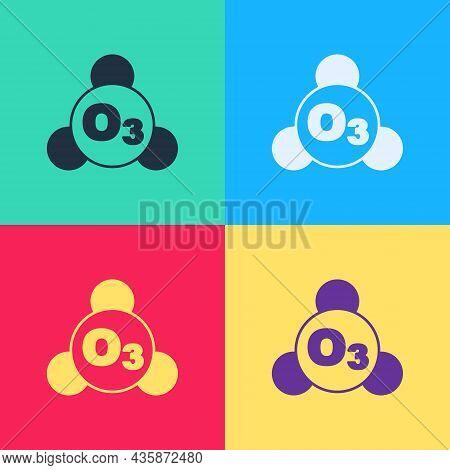 Pop Art Ozone Molecule Icon Isolated On Color Background. Ozone, O3, Trioxygen, Inorganic Molecule.