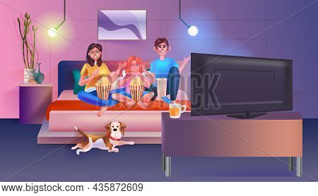 Family Sitting On Couch Watching Tv And Eating Popcorn Happy Parents And Daughter Spending Time Toge