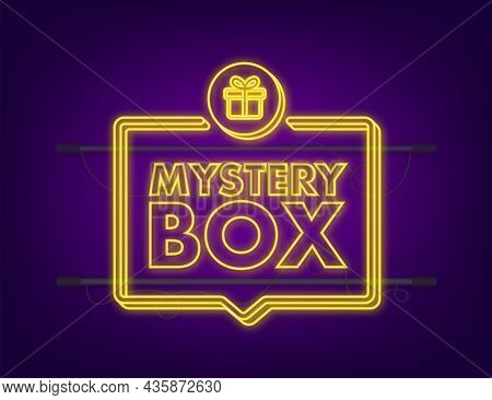 Mystery Box. Packaging For Concept Design. Surprise Present. Package Design. Help Symbol. Neon Icon.