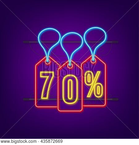70 Percent Off Sale Discount Neon Tag. Discount Offer Price Tag. 70 Percent Discount Promotion Flat