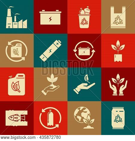 Set Can With Recycle Symbol And Can, Plant In Hand Of Environmental Protection, Bottle, Recycle Bin,