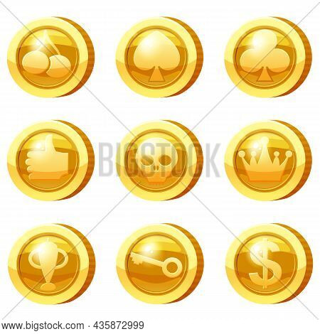 Set Of Golden Coins For Game Apps. Gold Icons, Card Suits, Crown, Scull, Key, Goblet, Symbols Game U