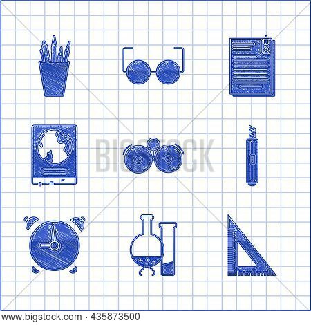 Set Ringing Alarm Bell, Triangular Ruler, Stationery Knife, Alarm Clock, World Map School Blackboard