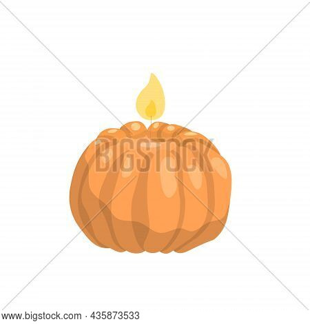 Scented Burning Wax Candles, Orange In The Shape Of A Pumpkin. Relaxation And Recreation Design Elem