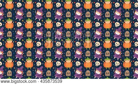 Children In Halloween Costumes Of Spooky Creatures. Day Of Dead Holiday Pattern, Texture, Banner, Ba