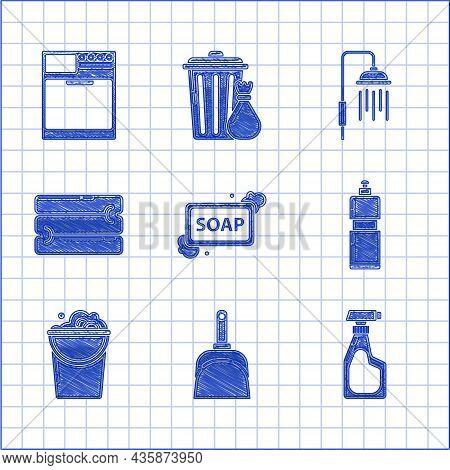 Set Bar Of Soap With Foam, Dustpan, Cleaning Spray Bottle Detergent Liquid, Plastic Bottles For Dish