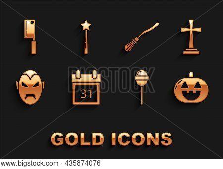 Set Calendar With Halloween Date 31 October, Tombstone Cross, Pumpkin, Lollipop, Vampire, Witches Br