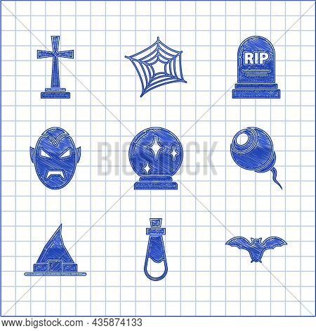 Set Magic Ball, Bottle With Potion, Flying Bat, Eye, Witch Hat, Vampire, Tombstone Rip And Cross Ico