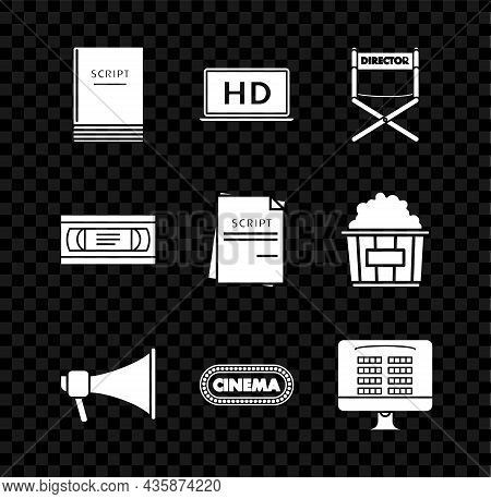 Set Scenario, Laptop Screen With Hd Video Technology, Director Movie Chair, Megaphone, Cinema Poster