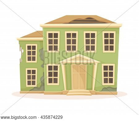 Old Abandoned Two Storey House With Broken Roof. Old Suburban Building Cartoon Vector Illustration