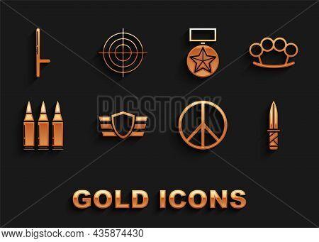 Set Military Reward Medal, Brass Knuckles, Knife, Peace, Bullet, Police Rubber Baton And Target Spor