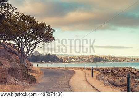 Granite Island Horse Drawn Cart Causeway At Sunset  Time In Victor Harbor, Encounter Bay, South Aust