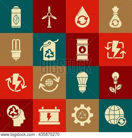 Set Planet Earth And A Recycling, Light Bulb With Leaf, Recharging, Recycle Clean Aqua, Tag Recycle