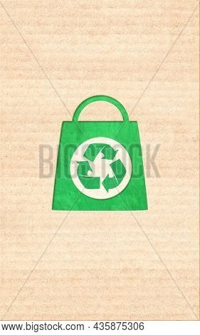 Responsible consumption. Arrows recycle symbol and shopping bag in paper cut style. Eco-friendly business. Vertical banner with recycled eco paper texture. Copy space for text. Mock up template