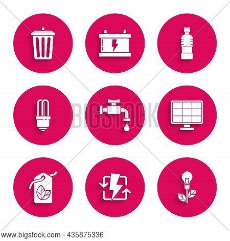 Set Water Tap, Recharging, Light Bulb With Leaf, Solar Energy Panel, Tag Symbol, Led Light, Bottle O