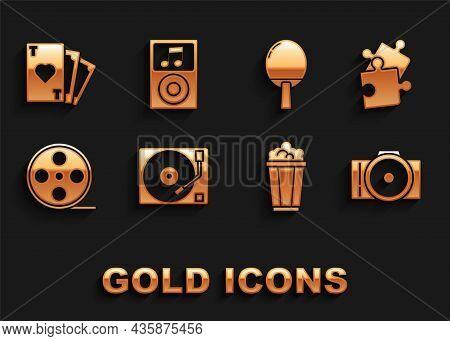 Set Vinyl Player With A Vinyl Disk, Piece Of Puzzle, Photo Camera, Popcorn Cardboard Box, Film Reel,