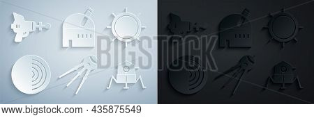 Set Satellite, Sun, Earth Structure, Mars Rover, Astronomical Observatory And Ray Gun Icon. Vector