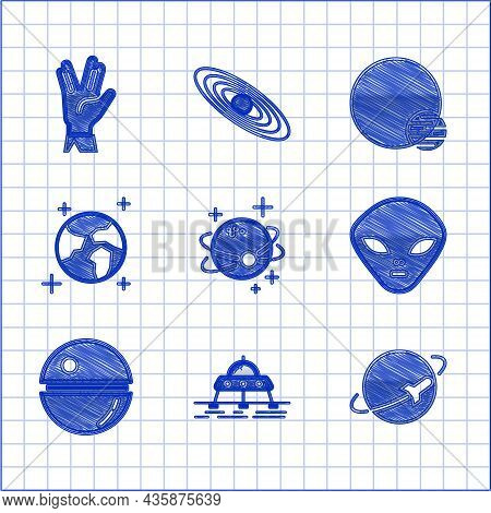 Set Planet, Mars Rover, Alien, Death Star, Earth Globe, And Vulcan Salute Icon. Vector