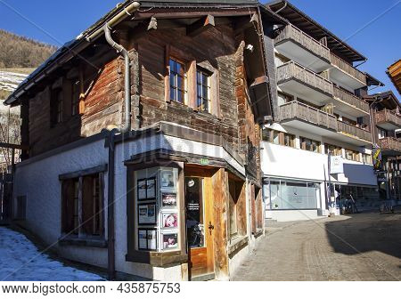 Switzerland, Saas-fee, December, 26, 2015 - Typical Old Wooden House Built In 1758 In The Charming S