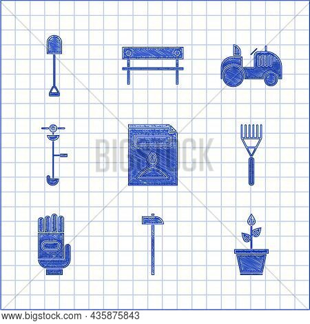Set A Pack Full Of Seeds Of A Specific Plant, Hammer, Plant In Pot, Garden Rake, Gloves, Grass And W