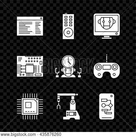 Set Software, Web Developer Programming Code, Remote Control, Bot, Processor With Microcircuits Cpu,