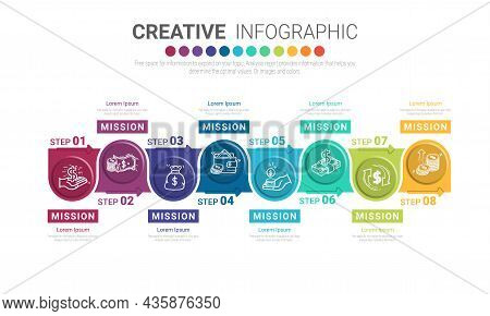 Infographic Design Template With Numbers 8 Option For Presentation Infographic, Timeline Infographic