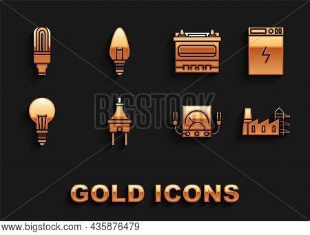 Set Electric Plug, Power Bank, Station Plant And Factory, Ampere Meter, Multimeter, Voltmeter, Light