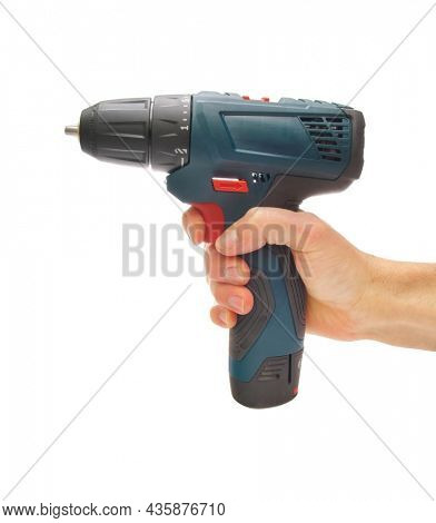 Electric screwdriver in hand isolated on white background. Element of design. Boulding tool and equipment.