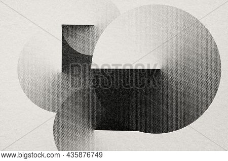 Geometric shape background in engraving style