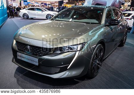 Peugeot 508 Sw First Edition Car Showcased At The Paris Motor Show. Paris, France - October 2, 2018.