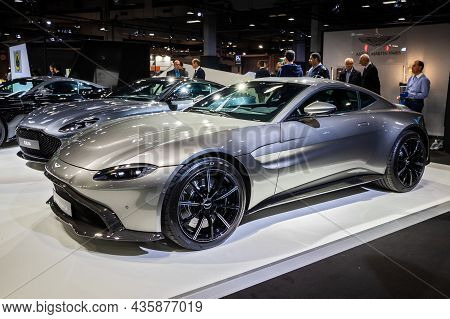 Aston Martin Vantage Sports Car Showcased At The Paris Motor Show. Paris, France - October 2, 2018.