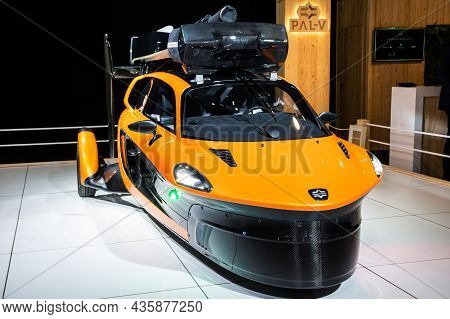 Pal-v Liberty Flying Car Showcased At The Autosalon 2020 Motor Show. Brussels, Belgium - January 9,