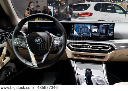 Interior View Of The Bmw I4 All-electric Gran Coupe Car Showcased At The Iaa Mobility 2021 Motor Sho