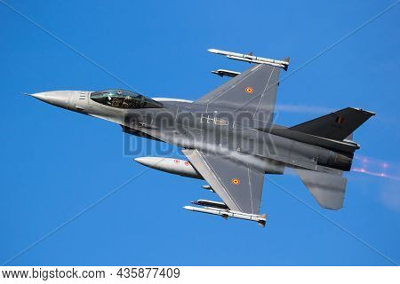 Belgian Air Force General Dynamics F-16 Fighting Falcon Multirole Fighter Jet Taking Off From Leeuwa