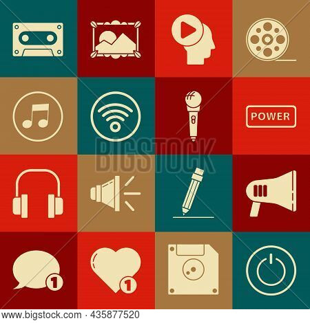 Set Power Button, Megaphone, Head People With Play, Wi-fi Wireless Internet Network, Music Note, Ton