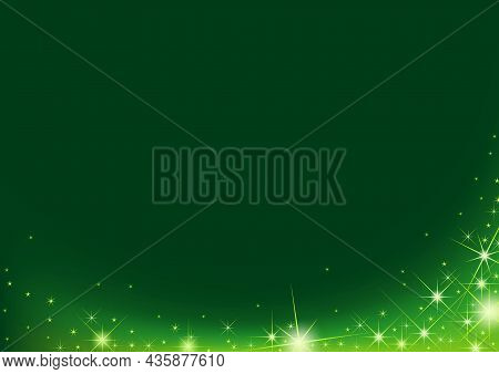 Magical Sparkle Wave Over A Green Background - Glowing Starry Illustration, Vector