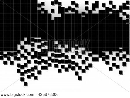 Abstract Background With Black Cubes With Scattered Parts - Black And Gray Illustration Isolated On
