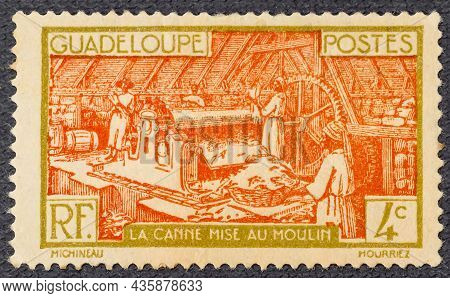 1928: Stamp Printed In Guadeloupe Shows Sugar Refinery, Circa 1928