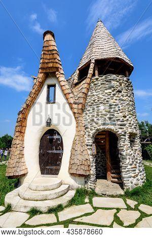 Clay Castle From The Valey Of The Ferries (castelul De Lut Valea Zanelor) In Porumbacu De Sus Villag