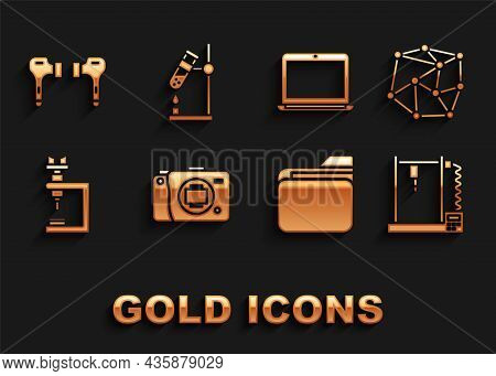 Set Mirrorless Camera, Neural Network, 3d Printer, Document Folder, Microscope, Laptop, Air Headphon
