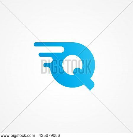 Initial Alphabet Logo Design Template. Vector Illustration Of Letter Q Streaking With Fluid Effect.